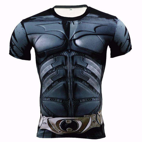 Buy the Metal Batman Superhero Short Sleeve Compression T-Shirt. Shop Compression Shirts Online - Kewlioo