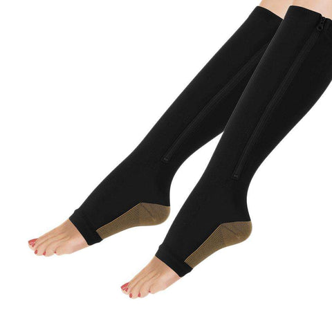 Buy the Women Slimming Zippered Compression Socks / Black / S/M. Shop Weight Loss Accessories Online - Kewlioo