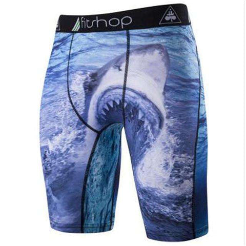 Buy the Men's Animal Compression Shorts / Shark / S. Shop Compression Shorts Online - Kewlioo
