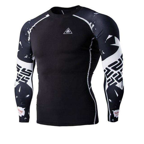 Buy the Men's Blackout Long-Sleeve Compression Shirt / Letters / M. Shop Compression Shirts Online - Kewlioo