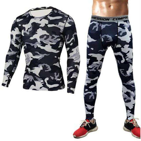 Buy the Men's Camouflage Compression Suit (Long Sleeve Shirt + Leggings) / Black & White Camo / S. Shop Compression Suit Online - Kewlioo