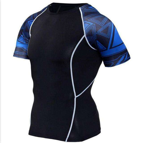 Buy the Men's Blackout Short-Sleeve Compression Shirt / Dark Blue/Black / S. Shop Compression Shirts Online - Kewlioo