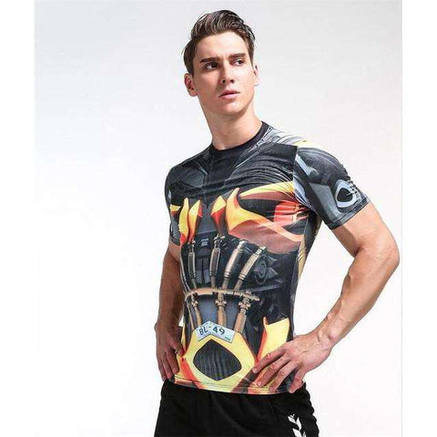 Buy the Men's Superhero Short Sleeve Compression Rash Guard / Transformers 2 / S. Shop Compression Shirts Online - Kewlioo