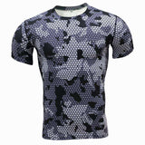Buy the Men's Short-Sleeve Camouflage Compression Shirt / Dark Camo / S. Shop Compression Shirts Online - Kewlioo