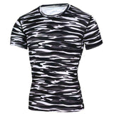 Buy the Men's Short-Sleeve Camouflage Compression Shirt / Zebra / S. Shop Compression Shirts Online - Kewlioo