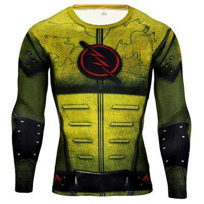 Buy the Yellow Flash Superhero Long Sleeve Compression Shirt / Flash / S. Shop Compression Shirts Online - Kewlioo