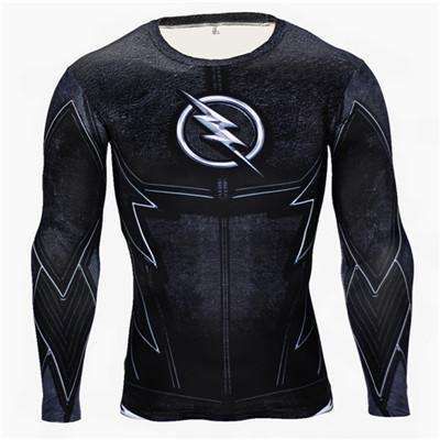 Buy the Dark Flash Superhero Long Sleeve Compression Shirt / Flash / S. Shop Compression Shirts Online - Kewlioo