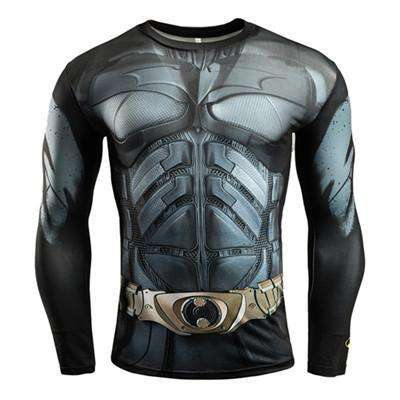 Buy the Superhero Batman Long-Sleeve Compression Shirt / Batman / S. Shop Compression Shirts Online - Kewlioo