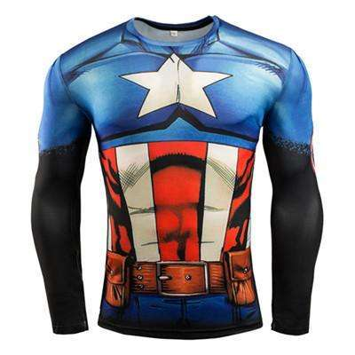 Buy the Captain America Superhero Long Sleeve Compression Shirt / Captain America / S. Shop Compression Shirts Online - Kewlioo