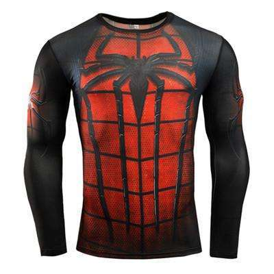 Buy the Spiderman Superhero Long-Sleeve Compression T-Shirt / Spiderman / S. Shop Compression Shirts Online - Kewlioo