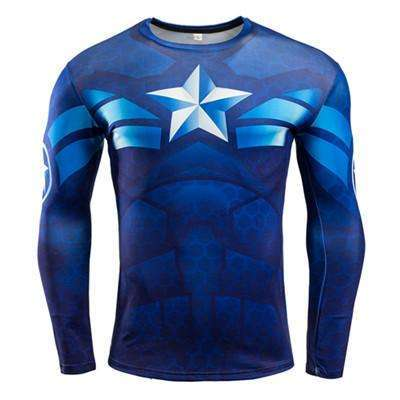 Buy the Blue Captain America Superhero Long Sleeve Compression Shirt Rashguard / Captain America / S. Shop Compression Shirts Online - Kewlioo