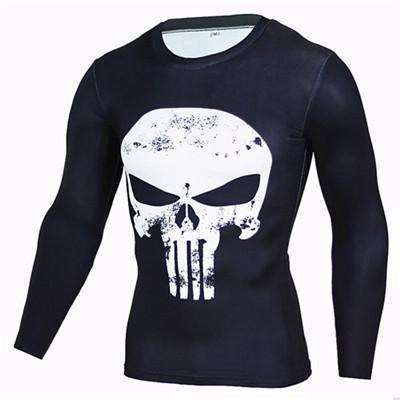 Buy the Skull Long-Sleeve Compression T-Shirt / Skull / S. Shop Compression Shirts Online - Kewlioo