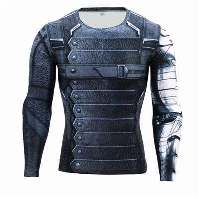 Buy the Captain America Winter Soldier Long-Sleeve Compression Shirt / Captain America / S. Shop Compression Shirts Online - Kewlioo