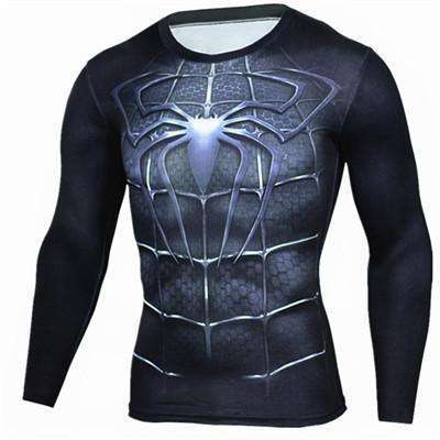 Buy the Dark Spiderman Long Sleeve Superhero Compression Shirt / Spiderman / S. Shop Compression Shirts Online - Kewlioo