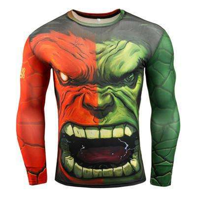 Buy the Hulk Superhero Long-Sleeve Compression Shirt / Green/Red / S. Shop Compression Shirts Online - Kewlioo