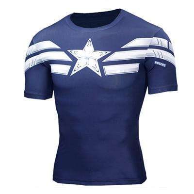 Buy the Captain America Star Superhero Compression Rashguard / Captain America / S. Shop Compression Shirts Online - Kewlioo