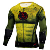 Buy the Yellow Flash Superhero Long Sleeve Compression Shirt. Shop Compression Shirts Online - Kewlioo