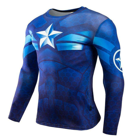 Buy the Blue Captain America Superhero Long Sleeve Compression Shirt Rashguard. Shop Compression Shirts Online - Kewlioo
