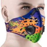 Buy the PERFORMANCE ACTIVATED CARBON TRAINING MASK / Blue Orange Green Splash. Shop Cycling Face Mask Online - Kewlioo