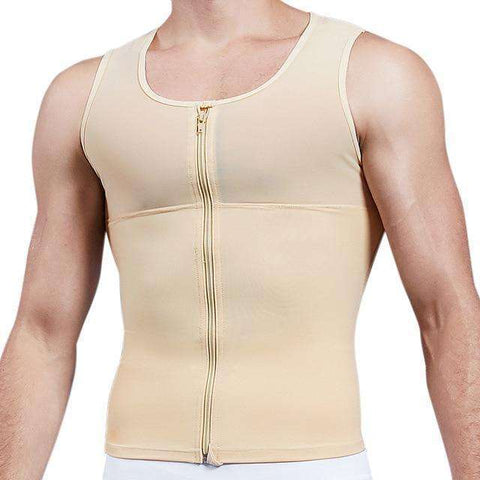 Buy the Men's Zipper Firm Body Shaper Vest with Back Support / Nude / S. Shop Shapers Online - Kewlioo
