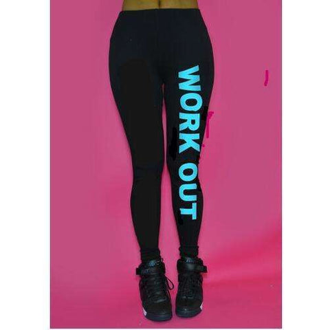 Buy the Women Fitness Work Out Leggings with Active Printed Leggings 100% Brand New / Black/Light Blue. Shop Leggings Online - Kewlioo