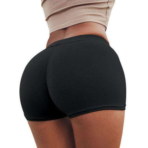 Buy the Women's Seamless High Waist Slim Fit Stretch Hot Pants / Black / S. Shop Compression Shorts Online - Kewlioo