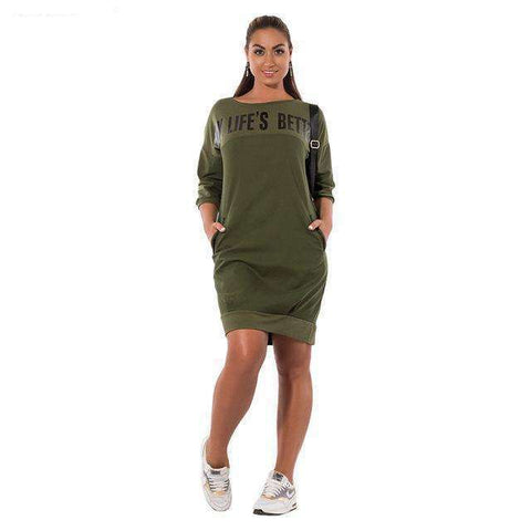 Buy the Large Size Casual Elegant Women Dress / Green / L. Shop Dresses Online - Kewlioo