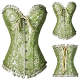 Buy the Women's Satin Lace up Overbust Corset / Green / S. Shop Corset Online - Kewlioo