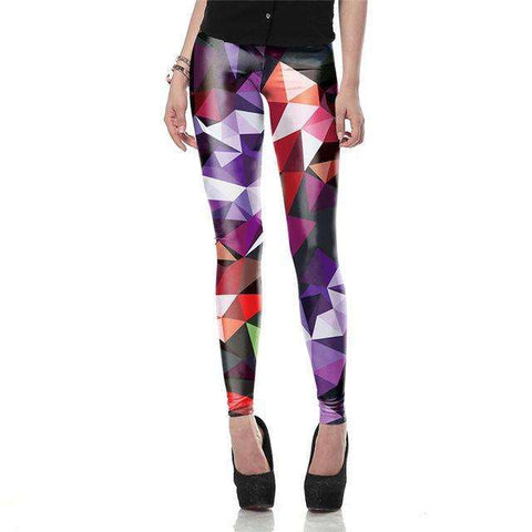 Buy the New 3D Ray fluorescence Printed Fashion Women leggings / Violet Fluorescent Gems / S. Shop Leggings Online - Kewlioo