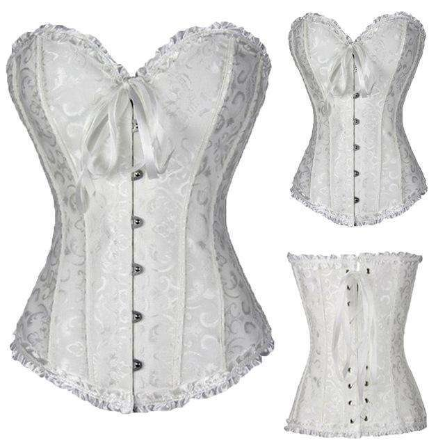 505557106bc Buy the Women s Satin Lace up Overbust Corset   White   S. Shop Corset  Online