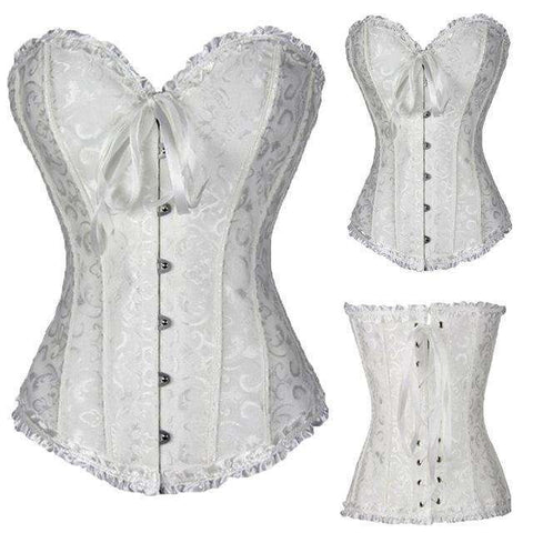 Buy the Women's Satin Lace up Overbust Corset / White / S. Shop Corset Online - Kewlioo