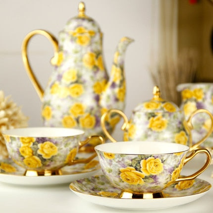 Gold Flower Elegant Tea Sets