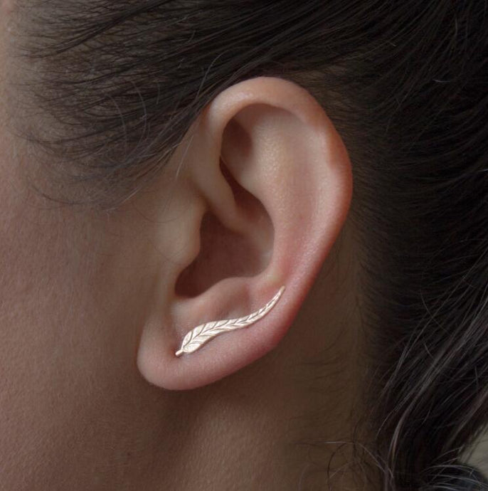 Long Leaf Stud Earrings