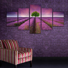 5 Panel Lavender Flower Painting Canvas