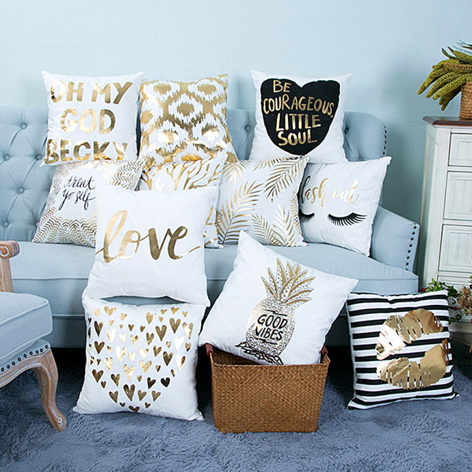 Bronzing Printed Cushion Cover
