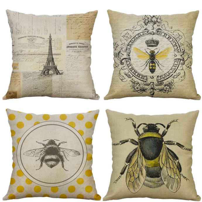 Vintage Insect Series Cotton Pillow Case