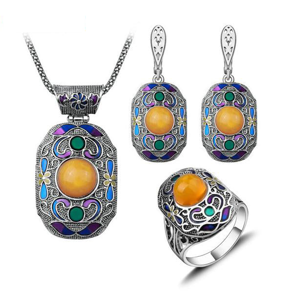 Antique Silver Color Turkish Jewelry Set