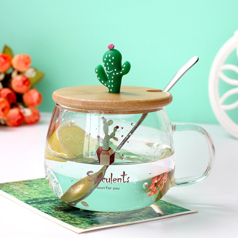 3D Cartoon Cactus Glass Mug