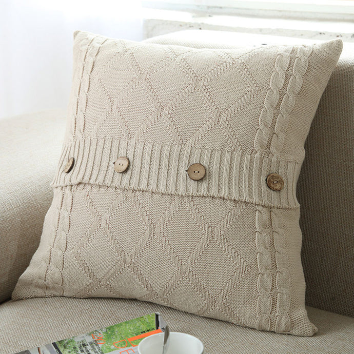 Retro Style Knitted Wool Pillow Case