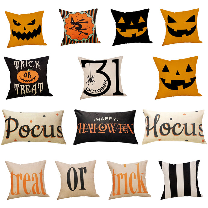 Halloween Pumpkin Print Throw Pillow Case