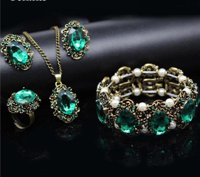 Green Fashion Bridal Jewelry Sets