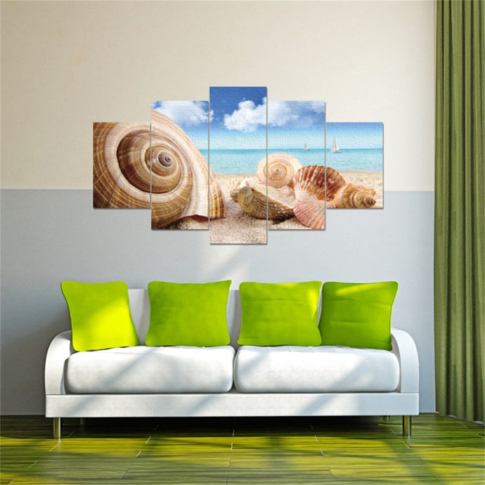Seaside Shell Canvas Pictures 5 Pieces