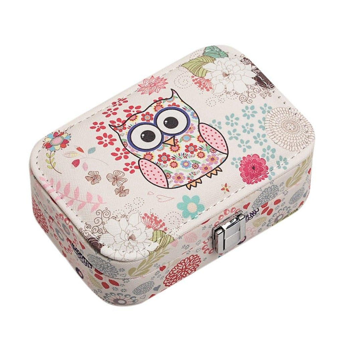 Owl Pattern Travel Jewelry Box
