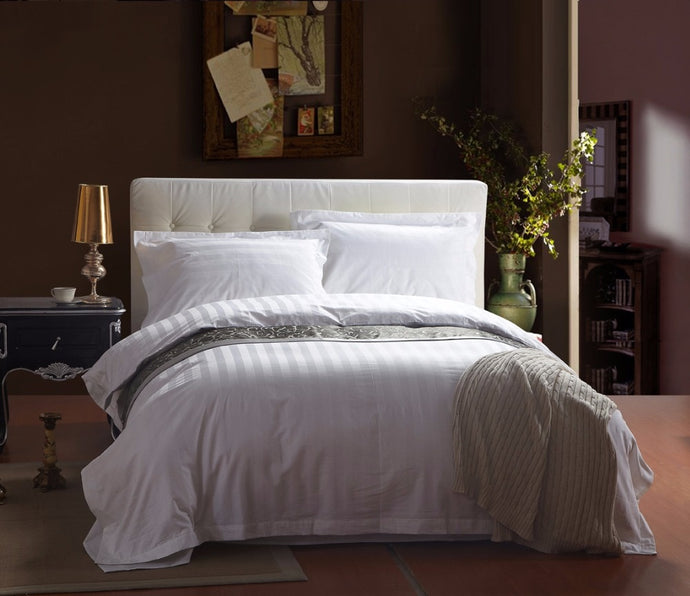 White Stripe Satin Bed Clothes