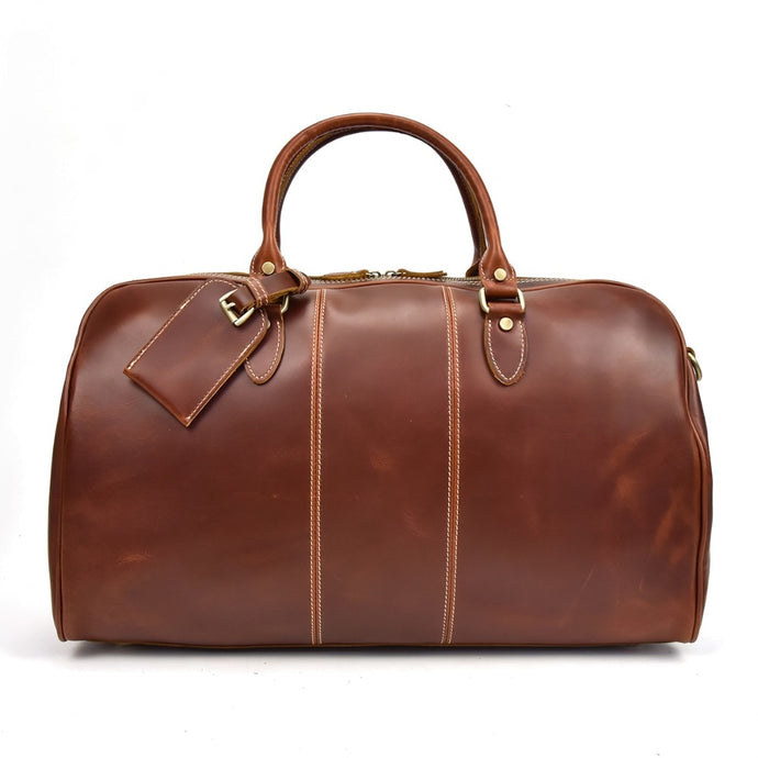 Glossy Genuine Leather Travel Bag