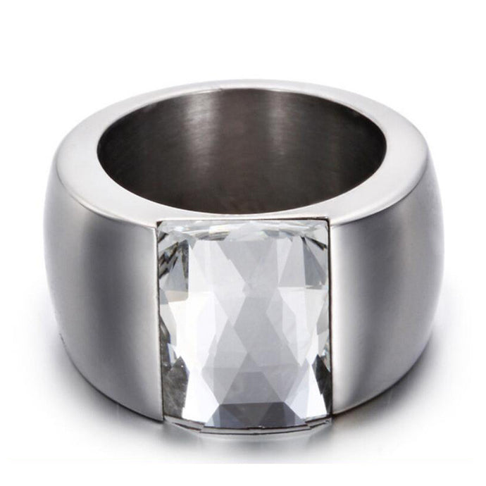 Fashion Stainless Steel Crystal Ring