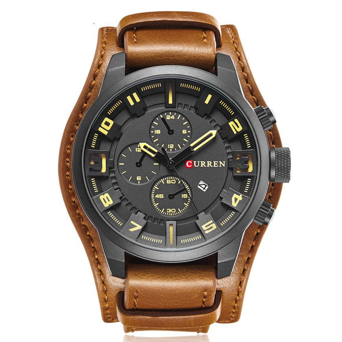 Leather Strap Sports Quartz Watch