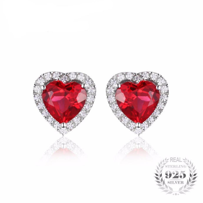 Bloody Red Ruby Stud Earrings