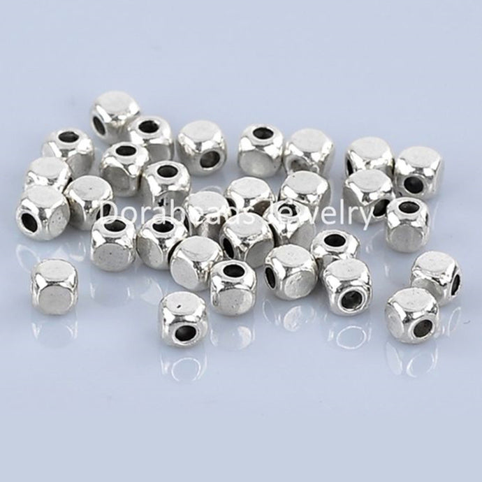 Beads Cube Antique Silver