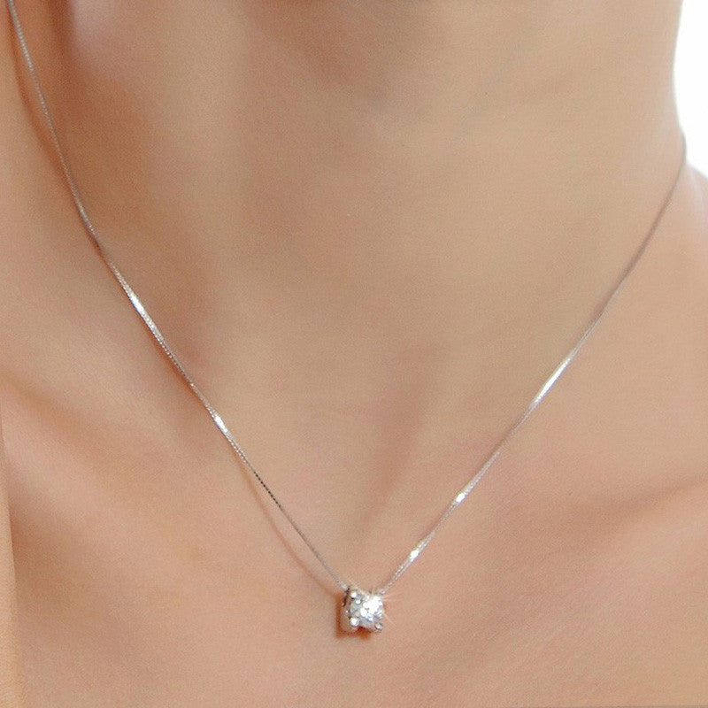 Silver Plated Round Crystal Cubic Zirconia Necklace Pendant